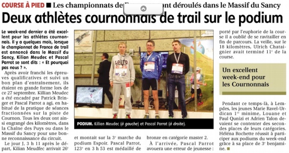 Article La Montagne: 2 podiums cournonais au france de Trail