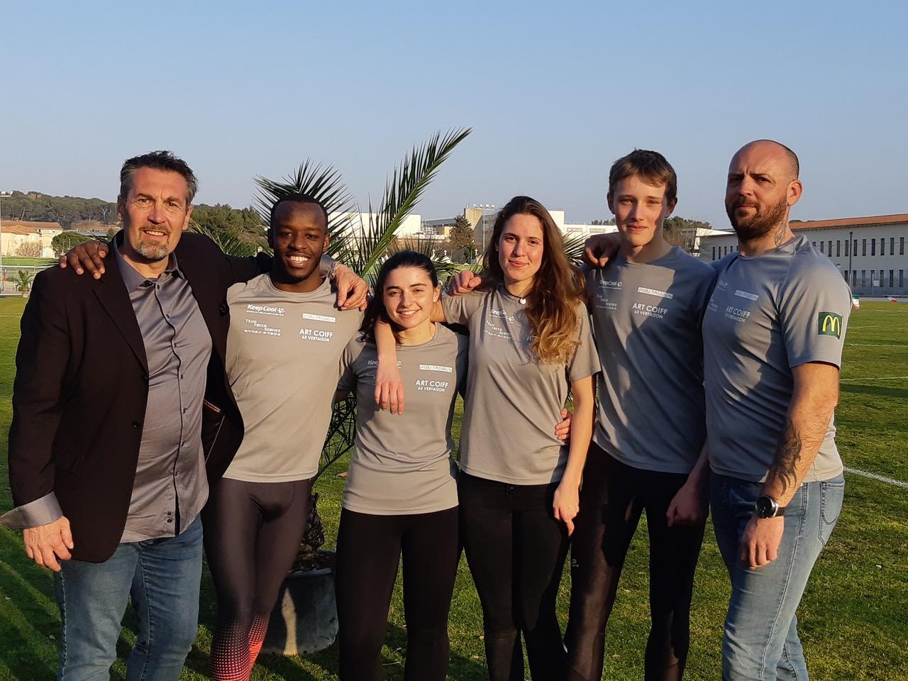 De Gauche à Droite : Christophe Pailler, Clément Maisonneuve, Anne-Laure Souche, Aurore Pailler, Benjamin Tixier et Anthony Forestier
